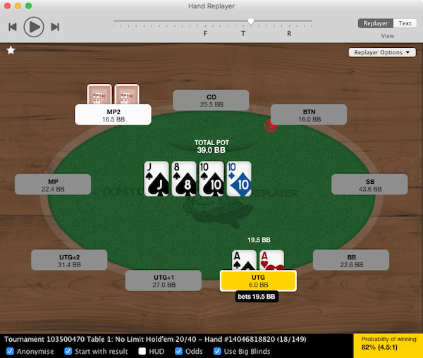Poker Copilot's Hand Replayer showing Pocket Aces with Ace-High Flush draw